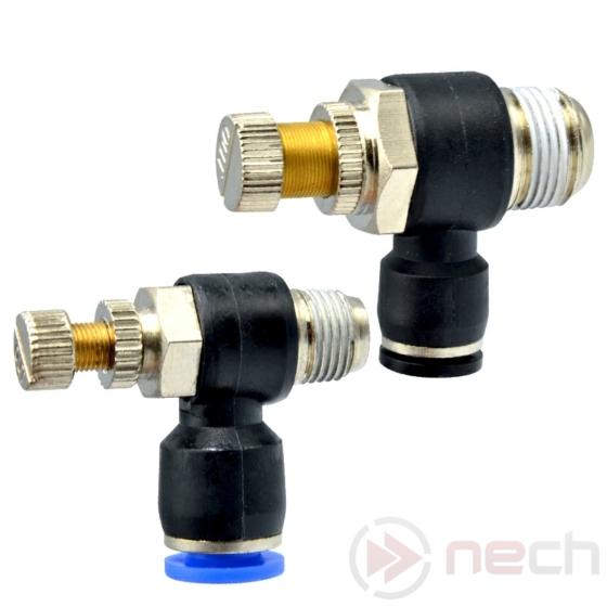 """NECH NSE6-02 / Ø6 mm-es push-in sarokfojtó R1/4""""-os menettel"""