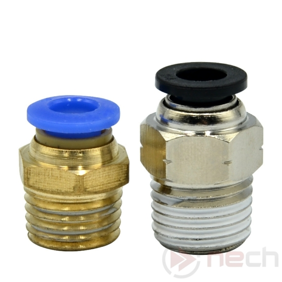 """NECH PC6-02 / Ø6 mm-es egyenes push-in toldó csatlakozó R1/4""""-os menettel"""