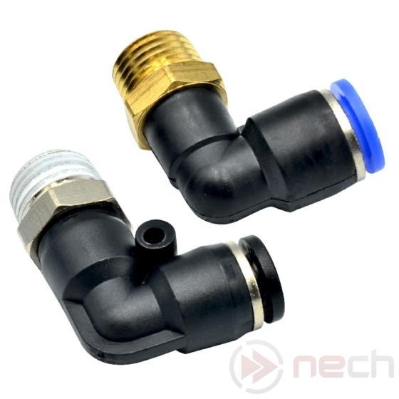 """NECH PL6-03 / Ø6 mm-es 90°-os push-in könyök csatlakozó R3/8""""-os menettel"""