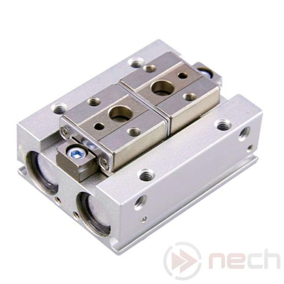 NECH MHF2-20D / Csereszabatos pneumatikus párhuzamos megfogó, alacsony profillal / Interchangeable Pneumatic Low-Profile Parallel Gripper I